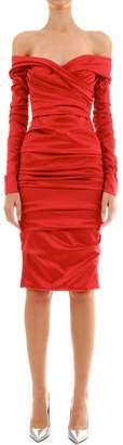 Dolce & Gabbana Draped Off Shoulder Midi Dress