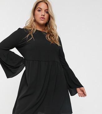 Asos DESIGN Curve fluted sleeve smock mini dress in black
