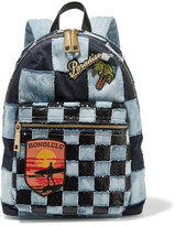 Marc Jacobs Biker Leather-trimmed Embellished Patchwork Denim Backpack - Dark denim