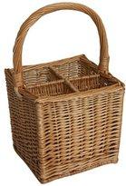 JVL 4 Bottle Steamed Willow Wicker Wine Drinks Gift Basket Holder Carrier, 25 x 25 x 44 cm