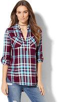 New York & Co. Soho Soft Tunic Shirt - Plaid