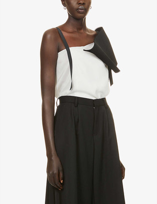 Omer Asim Asymmetric-neckline pleated silk top