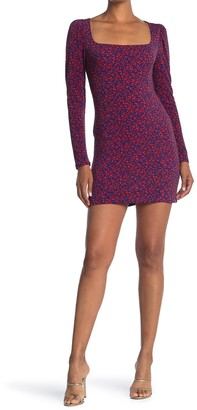Lush Square Neck Printed Mini Dress