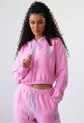 Missguided Playboy X Pink Zip Through Cropped Hoodie
