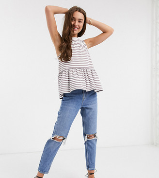 Topshop Petite double rip Mom jeans in mid wash