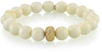 Sheryl Lowe Beaded White Bone Bracelet w/ Diamond Station