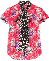 Marc Jacobs Pussy-bow Printed Silk-satin Blouse - Fuchsia