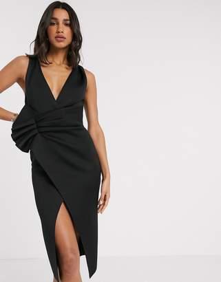 Asos Design DESIGN plunge tuck wrap midi dress