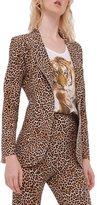 Norma Kamali Women's Short Single Breasted Jacket - BB Leopard