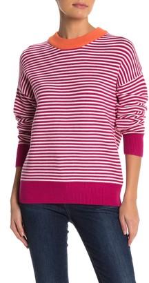 Elodie K Striped Crew Neck Pullover Sweater