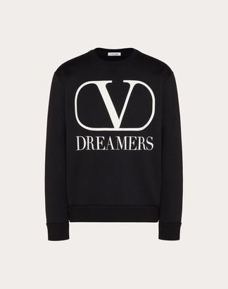 Valentino Vlogo Dreamers Print Sweatshirt Man Black/white Cotton 94%, Polyamide 6% L