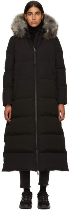 Moncler Black Fur Bernache Down Coat