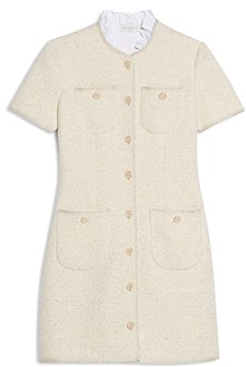 Sandro Taly Tweed Ruffled Collar Dress