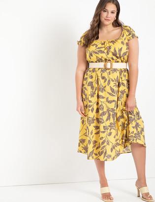 ELOQUII Pleat Detail Puff Sleeve Dress