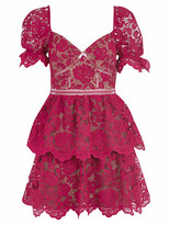 Self-Portrait Self Portrait Fuchsia Flower Lace Mini Dress