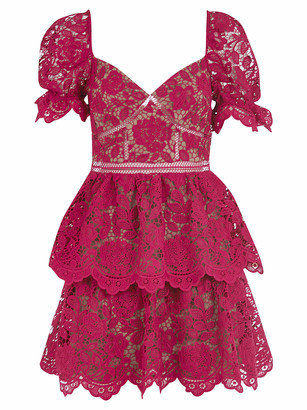 Self-Portrait Fuchsia Flower Lace Mini Dress