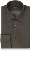 Forzieri Brown Mini Dots Cotton Slim Fit Men's Shirt