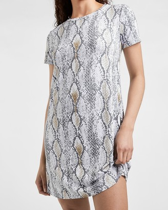 Express Snakeskin Print T-Shirt Dress