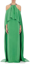 Monique Lhuillier Women's Silk Embellished Cape-Back Gown-DARK GREEN