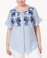 NY Collection Plus Size Embroidered Striped Shirt