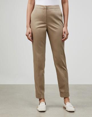 Lafayette 148 New York Italian Supple Cotton-Cashmere Twill Cuffed Clinton Pant