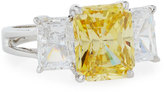 FANTASIA Triple-Stone Emerald-Cut CZ Ring