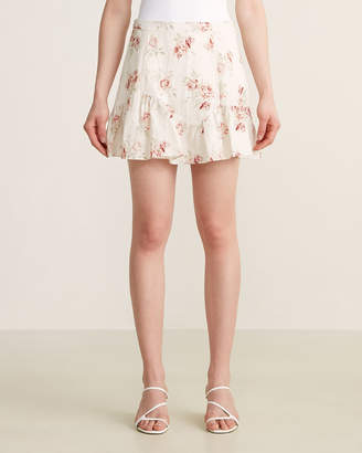LoveShackFancy Eliza Floral Linen Mini Skirt
