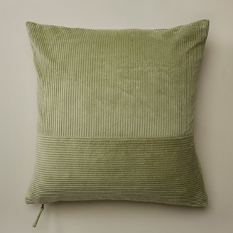 """Oui Pieced Corduroy Pillow Cover Oil Green 20"""" X 20"""""""