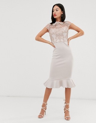 Chi Chi London lace midi dress with peplum hem in gray
