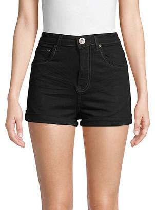 One Teaspoon Contrast-Stitch Denim Shorts