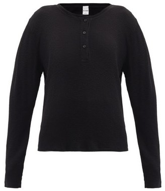 RE/DONE Waffle-knit Cotton-jersey Henley Top - Black