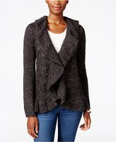 Karen Scott Ruffled Marled Cabled Cardigan, Only at Macy's
