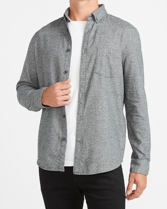 Express Slim Solid Stretch Flannel Shirt
