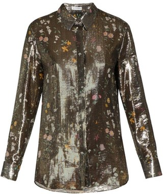 Altuzarra Chika Metallic Floral-print Silk-blend Shirt - Gold Multi