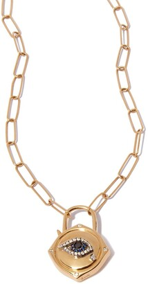 Annoushka 18kt yellow gold Lovelock evil eye diamond and sapphire charm on 14kt yellow gold mini cable chain necklace
