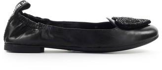 Love Moschino Black Strass Heart Ballet Flat Shoe