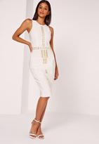 Missguided Premium Bandage Gold Studded Midi Dress White