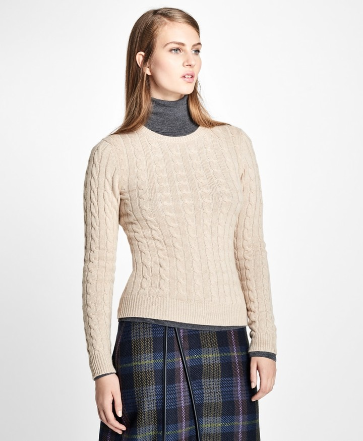 Brooks Brothers Cashmere Cable Crewneck Sweater