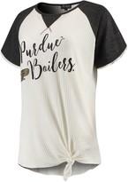 Unbranded Women's Cream/Black Purdue Boilermakers Believe It Or Not Raglan Waffle T-Shirt
