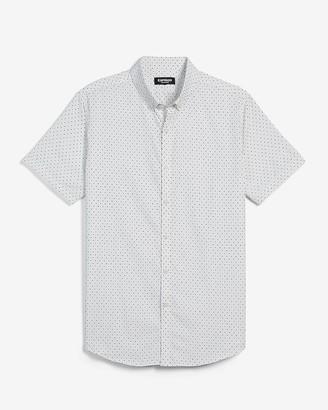 Express Slim Dot Wrinkle-Resistant Performance Short Sleeve Shirt