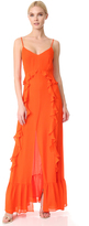 L'Agence Perla Ruffle Maxi Dress