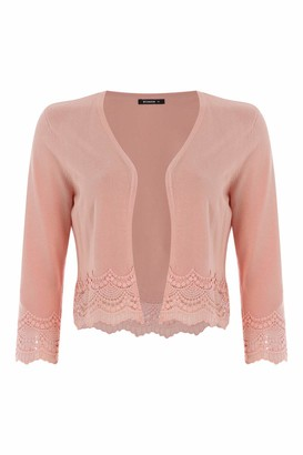 Roman Originals Women Lace Trim Shrug - Ladies Light 3/4 Sleeve Arm Comfy Knitwear Everyday Day Casual Work Wear Party Evening Formal Lace Thread Cardigan from Desk to Dinner - Peach - Size 18