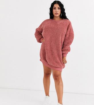 Asos DESIGN Curve v back teddy dress-Pink