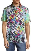Robert Graham Magnetic Field Printed Casual Button-Front Shirt
