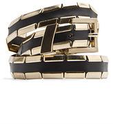 MANGO Leather Metallic Details Belt