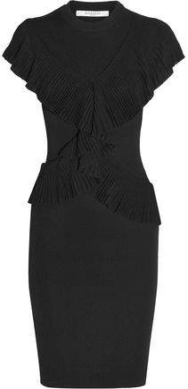 Givenchy Ruffled Ribbed-Knit Dress