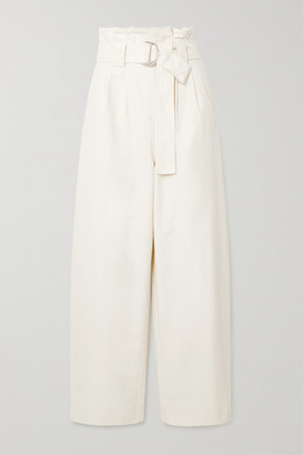 Ganni Belted Cotton-blend Drill Wide-leg Pants - Ivory
