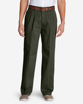 Eddie Bauer Men's Wrinkle-Free Relaxed Fit Pleated Casual Performance Chino Pants