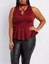 Charlotte Russe Plus Size Strappy Mock Neck Peplum Top