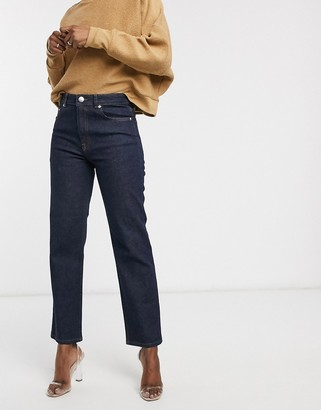 ASOS DESIGN high rise stretch 'slim' straight leg jeans in rinse wash